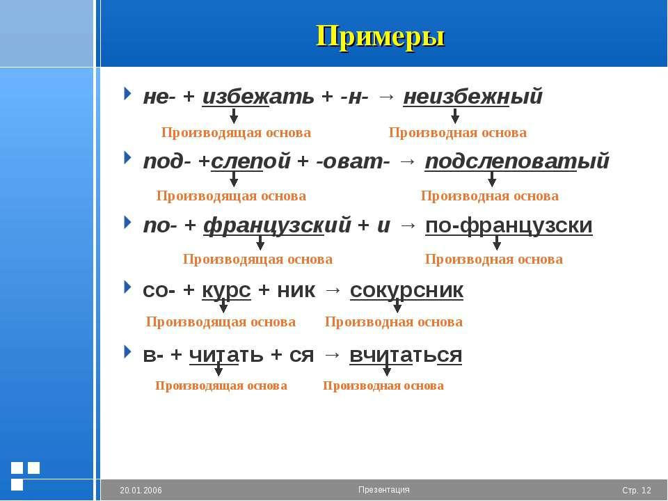 Примеры не- + избежать + -н- → неизбежный под- +слепой + -оват- → подслеповат...