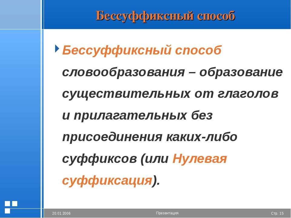 Бессуффиксный способ Бессуффиксный способ словообразования – образование суще...
