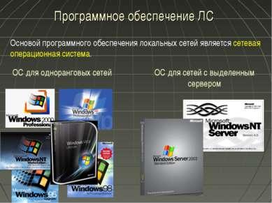 Программное обеспечение ЛС Основой программного обеспечения локальных сетей я...
