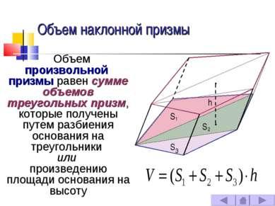 Объем наклонной призмы Объем произвольной призмы равен сумме объемов треуголь...