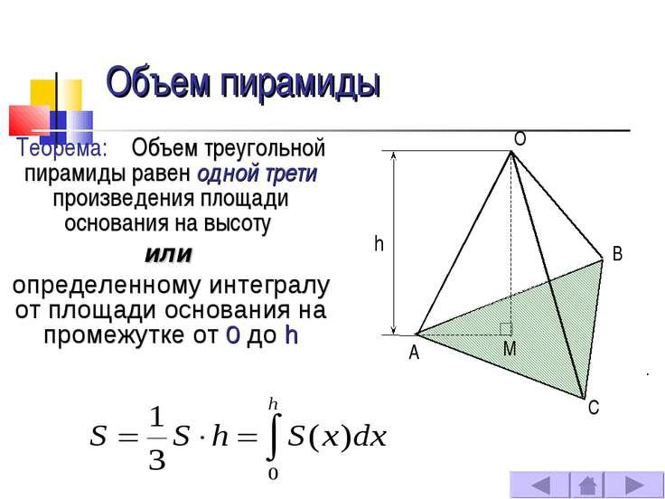 Объем пирамиды Теорема: Объем треугольной пирамиды равен одной трети произвед...