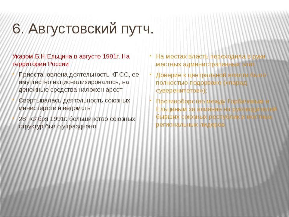 6. Августовский путч. Указом Б.Н.Ельцина в августе 1991г. На территории Росси...
