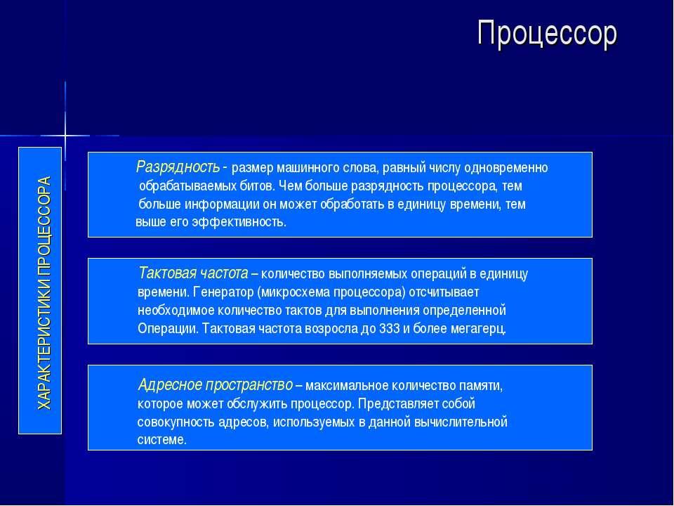 Процессор ХАРАКТЕРИСТИКИ ПРОЦЕССОРА Разрядность - размер машинного слова, рав...