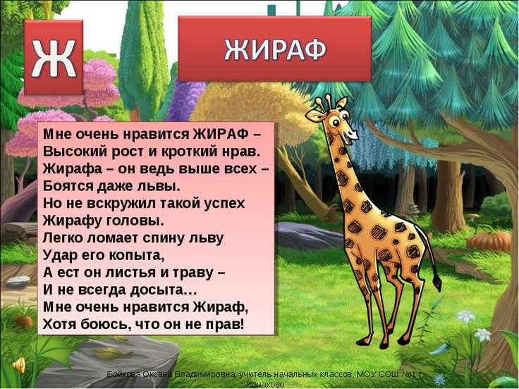 Мне очень нравится ЖИРАФ – Высокий рост и кроткий нрав. Жирафа – он ведь выше...