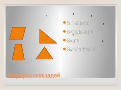 Формулы площадей S=1/2 (a*b) S=1/2(a+b)*h S=a*h S=1/2a*b*sinA a b a b a a