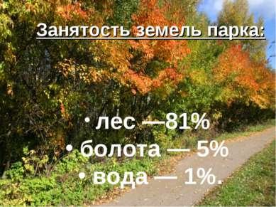 Занятость земель парка: лес —81% болота — 5% вода — 1%.
