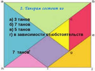 2. Танграм состоит из а) 3 танов б) 7 танов в) 5 танов г) в зависимости от об...
