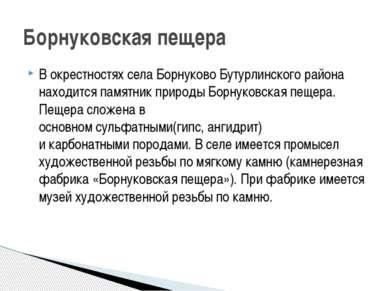 В окрестностях села Борнуково Бутурлинского района находится памятник природы...