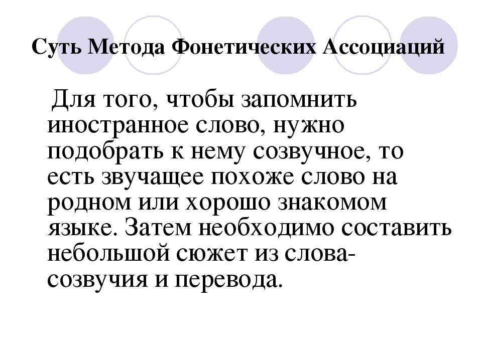 Суть Метода Фонетических Ассоциаций Для того, чтобы запомнить иностранное сло...