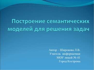 Автор – Широкова Л.В. Учитель информатики МОУ лицей № 41 Город Кострома