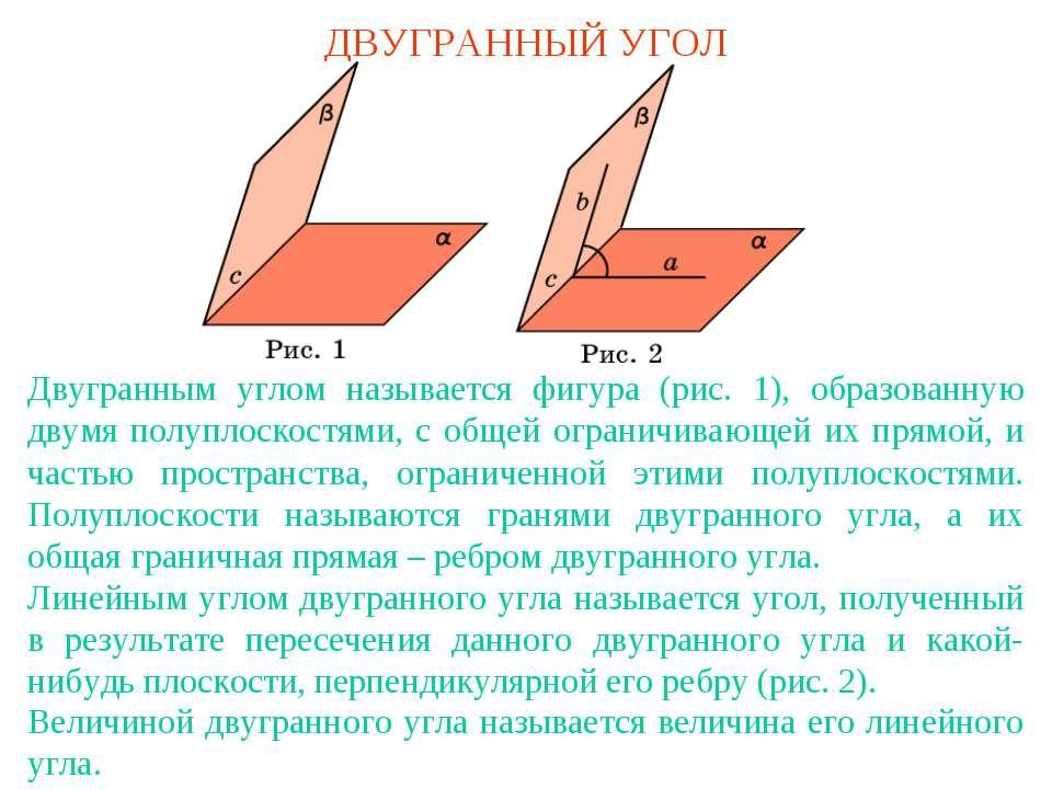 ДВУГРАННЫЙ УГОЛ Двугранным углом называется фигура (рис. 1), образованную дву...