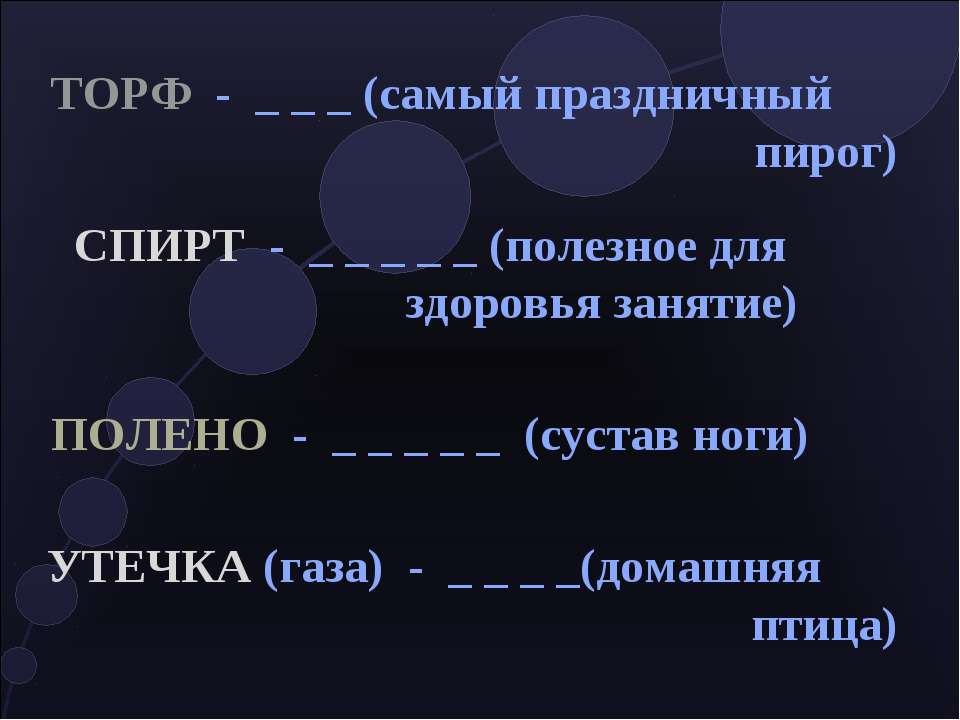 ТОРФ - _ _ _ (самый праздничный пирог) СПИРТ - _ _ _ _ _ (полезное для здоров...