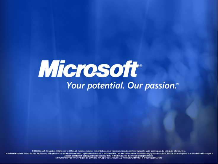 © 2006 Microsoft Corporation. All rights reserved. Microsoft, Windows, Window...