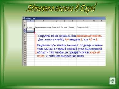 Поручим Excel сделать это автозаполнением. Для этого в ячейку А4 введем 1, а ...
