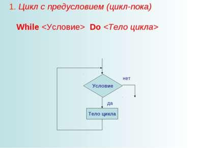 1. Цикл с предусловием (цикл-пока) While Do да нет