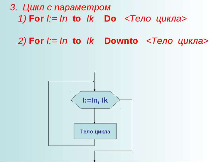 3. Цикл с параметром 1) For I:= In to Ik Do 2) For I:= In to Ik Downto