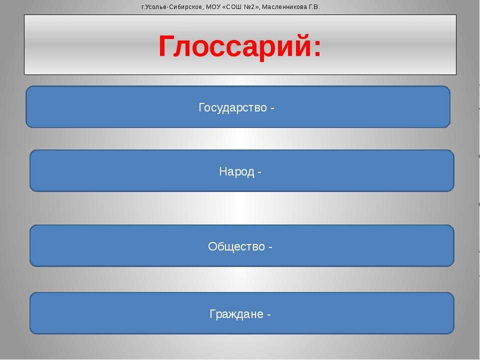Глоссарий: Государство - Народ - Общество - Граждане - г.Усолье-Сибирское, МО...