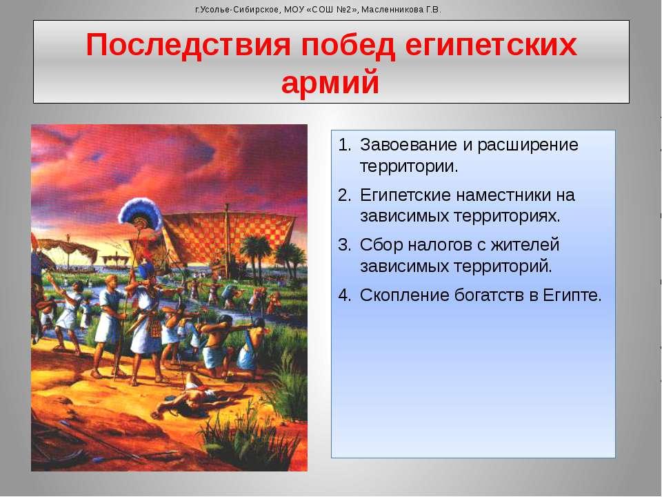 Последствия побед египетских армий Завоевание и расширение территории. Египет...