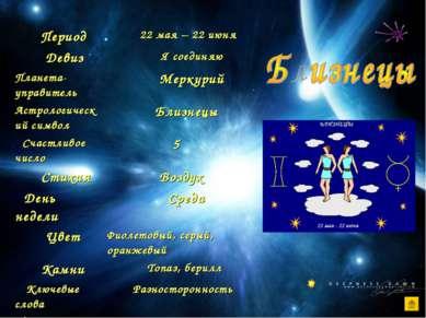 Период 22 мая – 22 июня Девиз Я соединяю Планета-управитель Меркурий Астролог...
