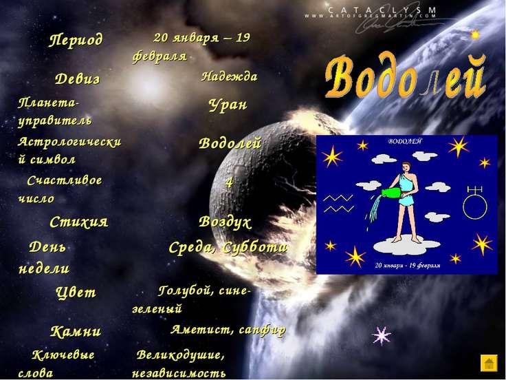 Период 20 января – 19 февраля Девиз Надежда Планета-управитель Уран Астрологи...