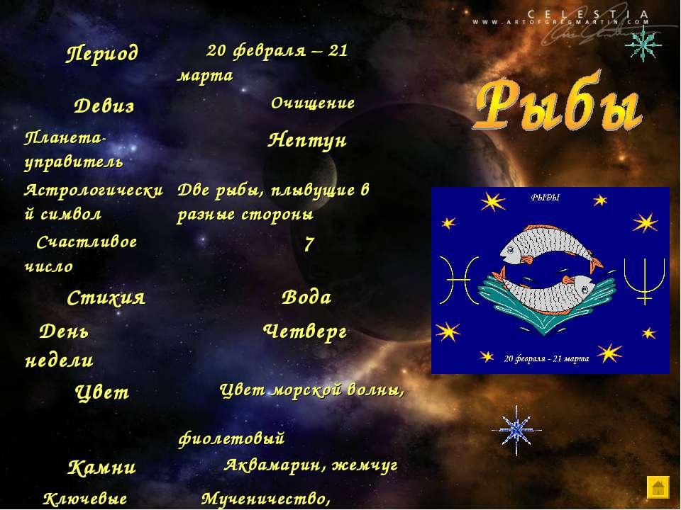 Период 20 февраля – 21 марта Девиз Очищение Планета-управитель Нептун Астроло...