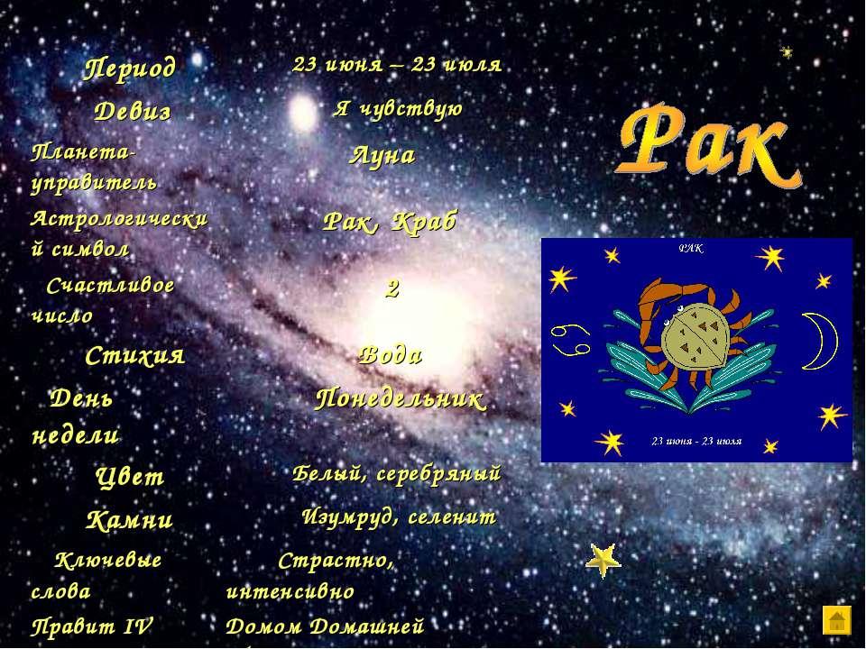 Период 23 июня – 23 июля Девиз Я чувствую Планета-управитель Луна Астрологиче...