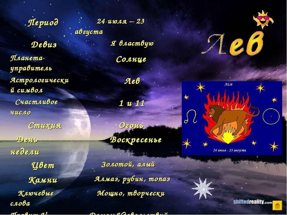 Период 24 июля – 23 августа Девиз Я властвую Планета-управитель Солнце Астрол...