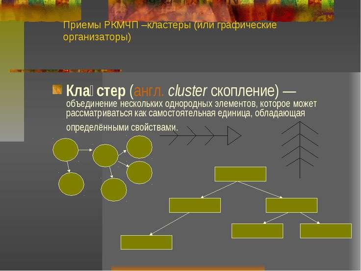 Приемы РКМЧП –кластеры (или графические организаторы) Кла стер (англ. cluster...