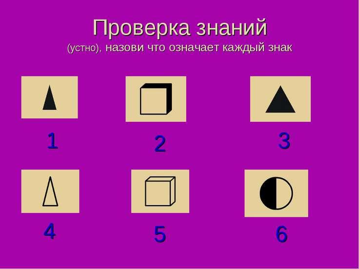 Проверка знаний (устно), назови что означает каждый знак 4 1 5 2 6 3