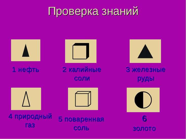 Проверка знаний 4 природный газ 1 нефть 5 поваренная соль 6 золото 3 железные...