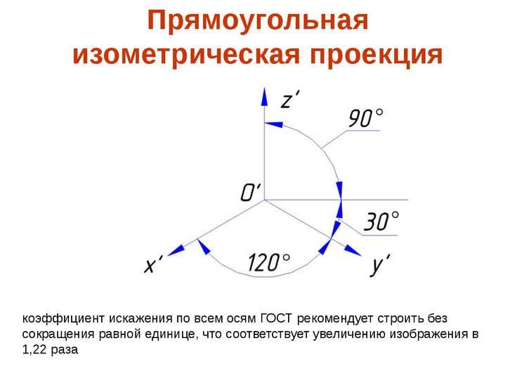Прямоугольная изометрическая проекция коэффициент искажения по всем осям ГОСТ...