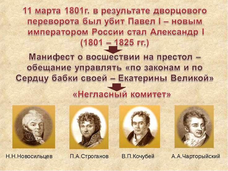 Н.Н.Новосильцев П.А.Строганов А.А.Чарторыйский В.П.Кочубей