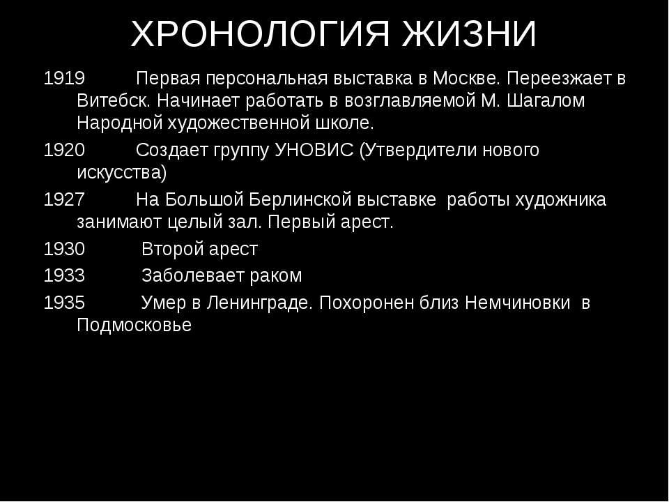 ХРОНОЛОГИЯ ЖИЗНИ Первая персональная выставка в Москве. Переезжает в Витебск....