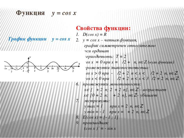 Функция y = cos x График функции y = cos x Свойства функции: D(cos x) = R y =...