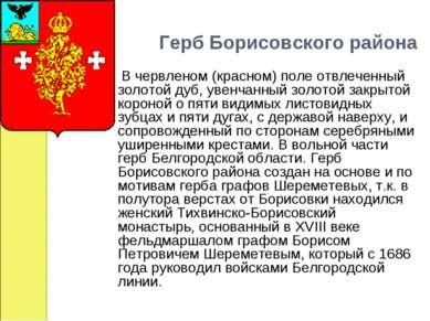Герб Борисовского района  В червленом (красном) поле отвлеченный золот...