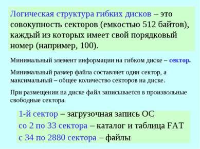 Логическая структура гибких дисков – это совокупность секторов (емкостью 512 ...
