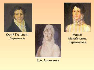 Юрий Петрович Лермонтов Мария Михайловна Лермонтова Е.А. Арсеньева