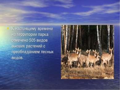 К настоящему времени на территории парка отмечено 505 видов высших растений с...