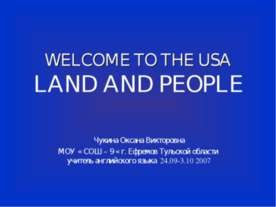 Welcome to the USA. Land and People