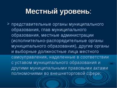 Местный уровень: представительные органы муниципального образования, глав мун...