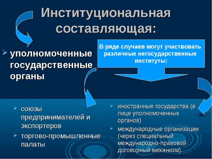 Институциональная составляющая: уполномоченные государственные органы союзы п...