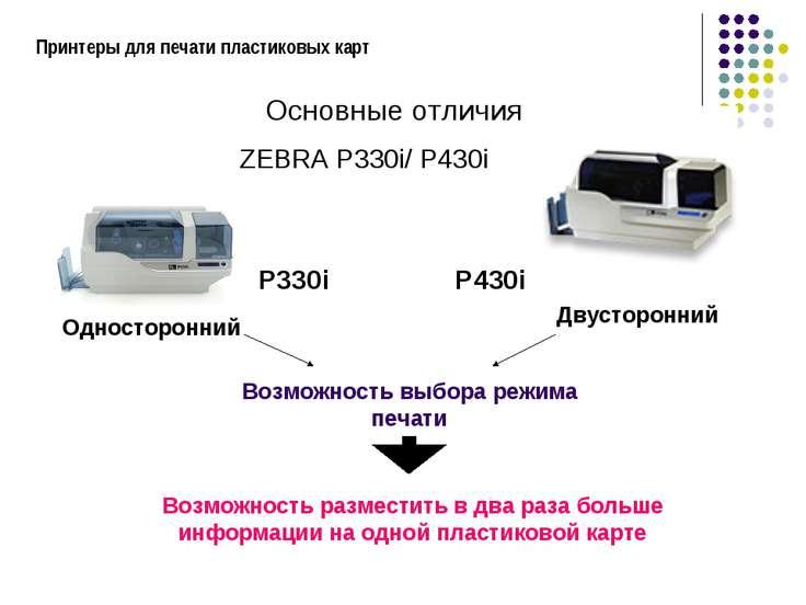 Принтеры для печати пластиковых карт P330i P430i ZEBRA P330i/ P430i Основные ...
