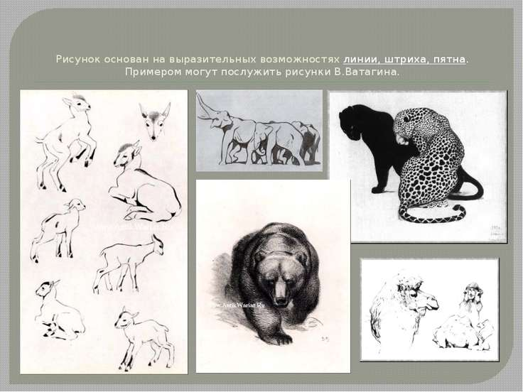 Рисунок основан на выразительных возможностях линии, штриха, пятна. Примером ...