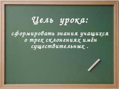 Цель урока: сформировать знания учащихся о трех склонениях имён существительн...