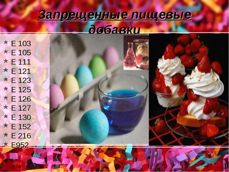 Запрещенные пищевые добавки Е 103 Е 105 Е 111 Е 121 Е 123 Е 125 Е 126 Е 127 Е...