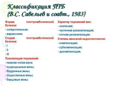 Классификация ПТБ (В.С. Савельев и соавт., 1983) Форма посттромботической бол...