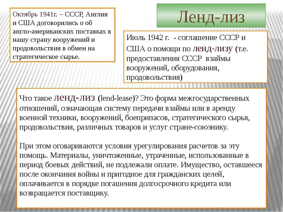 Июль 1942 г. - соглашение СССР и США о помощи по ленд-лизу (т.е. предоставлен...