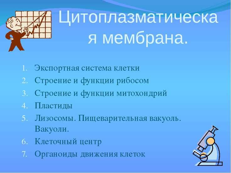 Экспортная система клетки Строение и функции рибосом Строение и функции митох...