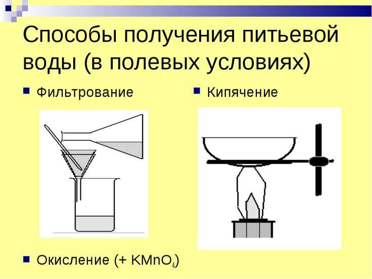 Способы получения питьевой воды (в полевых условиях) Фильтрование Окисление (...