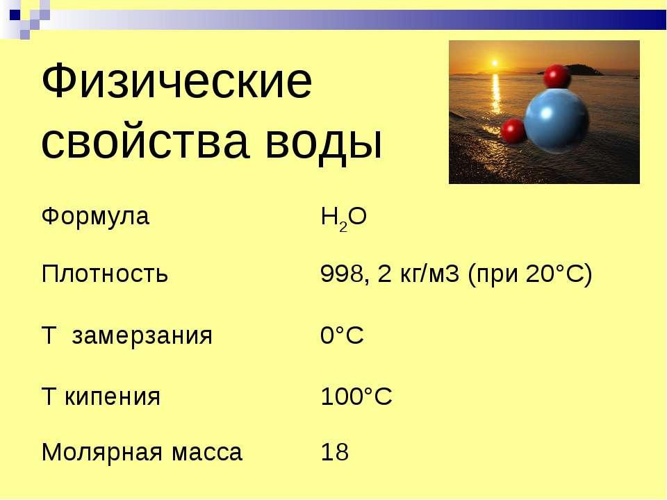 Физические свойства воды Формула Н2O Плотность 998, 2 кг/м3 (при 20°С) Т заме...